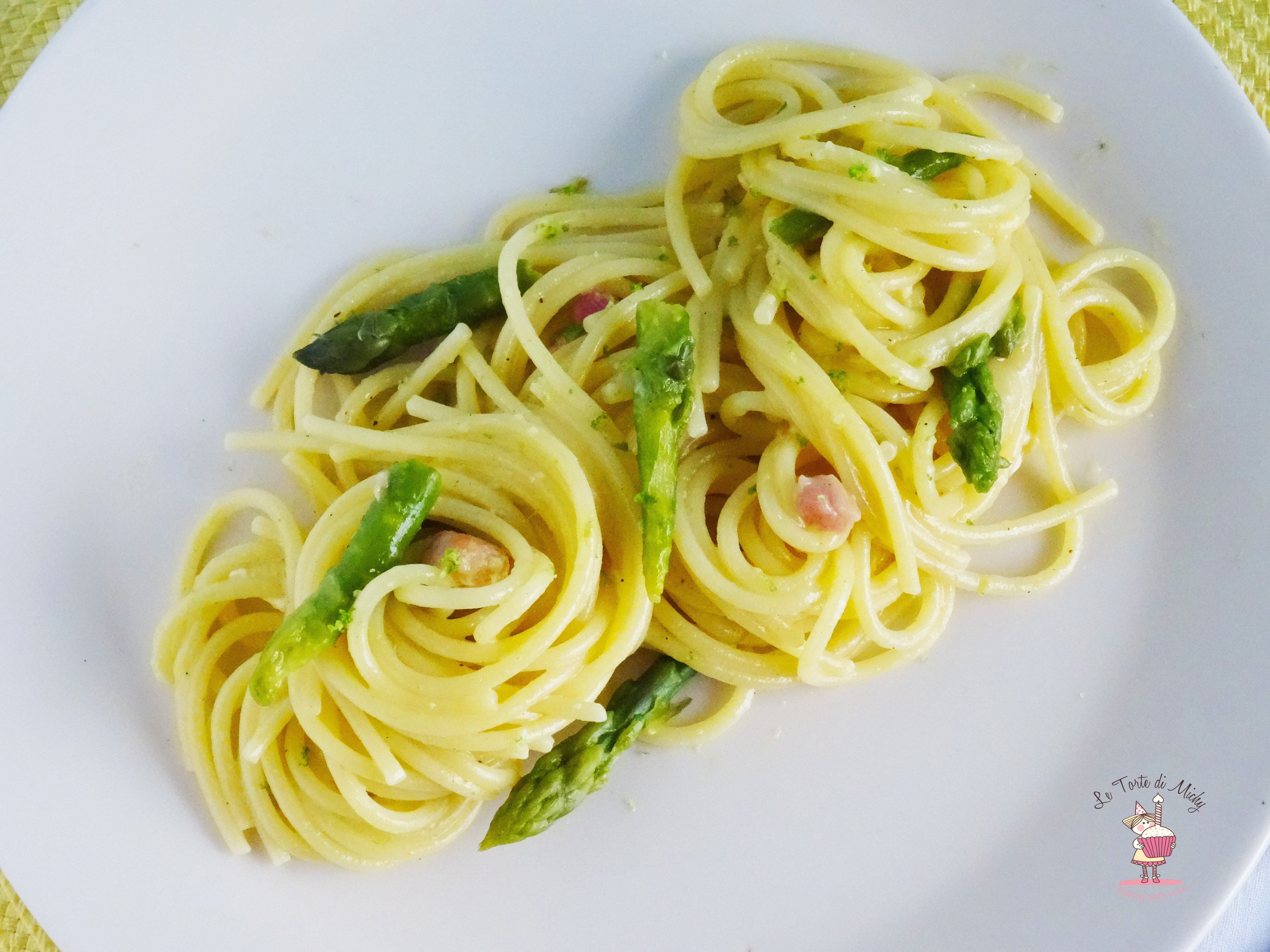 Spaghetti alla carbonara con asparagi di Heinz Beck